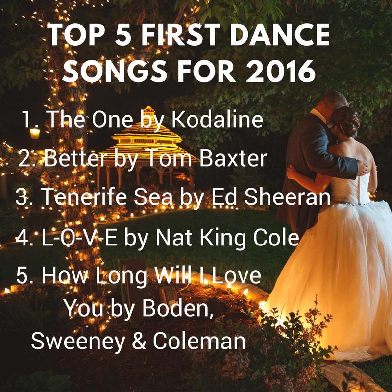 Top Wedding Songs 2017.Top Five First Dance Songs For 2016 2017 Sway Social Wedding